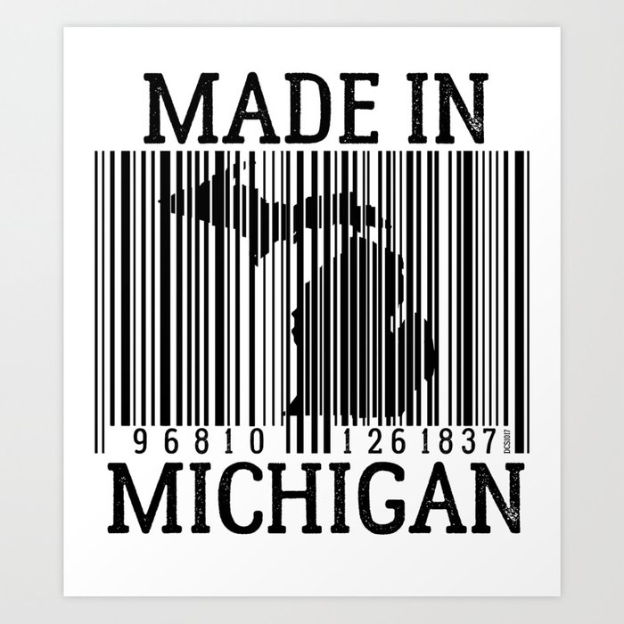Made In Michigan >> Made In Michigan Barcode Art Print By Designchaserstudio
