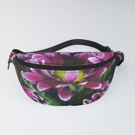 Maroon and White Mums Fanny Pack