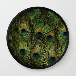 Peacock Feathers Photography Art Wall Clock