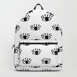 Graphic Black and White Eye Pattern Backpack