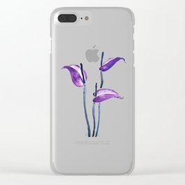 three purple flamingo flowers Clear iPhone Case