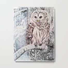 Owl under the snow Metal Print