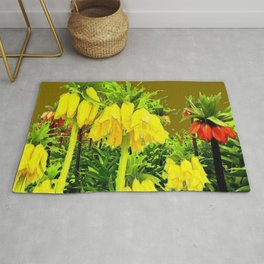 YELLOW CROWN IMPERIAL WATERCOLOR  FLOWERS Rug