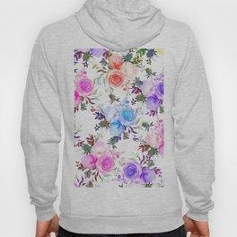 Elegant girly pink teal lilac watercolor floral Hoody