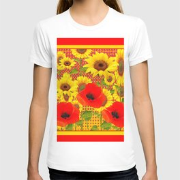 RED POPPIES YELLOW SUNFLOWERS RED PATTERN ART T-shirt