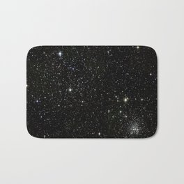 Universe Space Stars Planets Galaxy Black and White Bath Mat