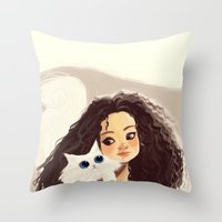 sister Throw Pillows featuring Sister by cennet kapkac