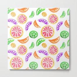 Summer Citrus Pattern Metal Print