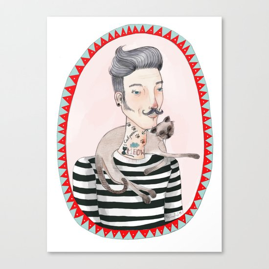 He is a cat person! Canvas Print