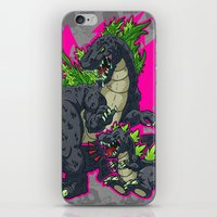 kaiju iPhone & iPod Skins featuring Kaiju Senior Kaiju Junior by firestarterdesign