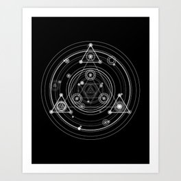 Sacred geometry black and white geometric art Art Print