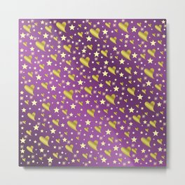 many small stars in gold, white and pink hearts on shiny colored background Metal Print