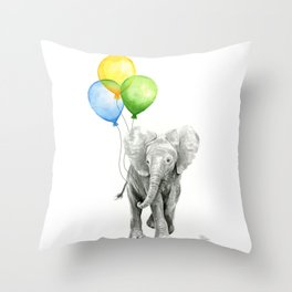 Elephant Watercolor Baby Animal with Balloons Blue Yellow Green Throw Pillow