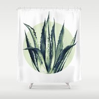 plant Shower Curtains featuring Agave Plant by Heart of Hearts Designs