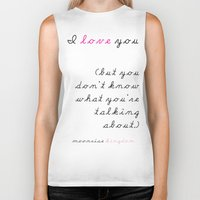wes anderson Biker Tanks featuring Moonrise Kingdom Wes Anderson Movie Quote by FountainheadLtd