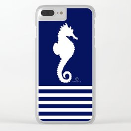 AFE Navy & White Seahorse Clear iPhone Case