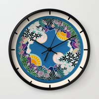 mandala Wall Clocks featuring Mandala by Abundance