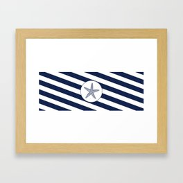 Nautical Starfish Navy Blue & White Stripes Beach Framed Art Print