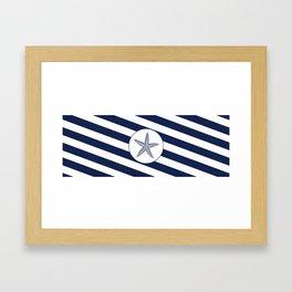 Nautical Starfish Navy Blue & White Stripes Beach Framed Art Print