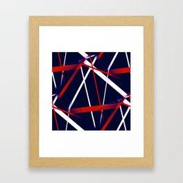 Seamless Red and White Stripes on A Blue Background Framed Art Print