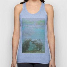 Hippopotamus in Water Abstract Zoo Wild Animals Unisex Tank Top