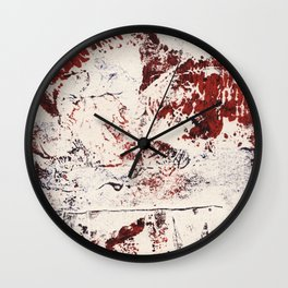 Abstract Red and Blue Expressive Fabric Collage Collagraph Wall Clock
