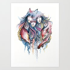 Fox Pack Art Print