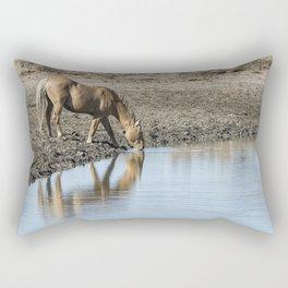 Reflection of a Stallion Rectangular Pillow