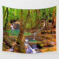 oregon Wall Tapestries featuring Oregon Falls by Robin Curtiss