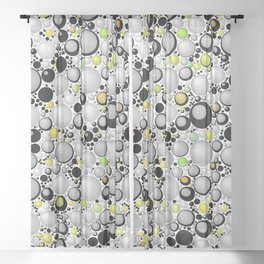 Brussel Sprout Hail Balls. Sheer Curtain