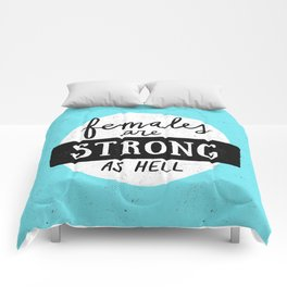 Females Are Strong As Hell Blue Comforters