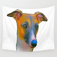 greyhound Wall Tapestries featuring Greyhound by Marlene Watson