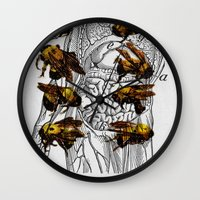 bees Wall Clocks featuring bees by Ashley Moye
