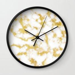 Glitzy Gold Veins on Creamy, Marshmallow Marble Wall Clock