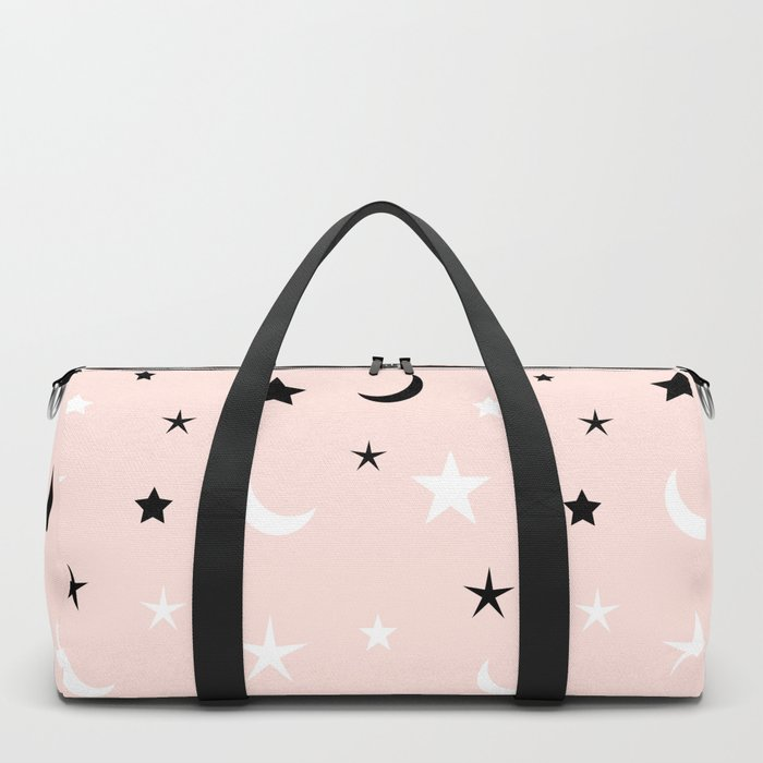 Pink background with black and white moon and star pattern Duffle Bag
