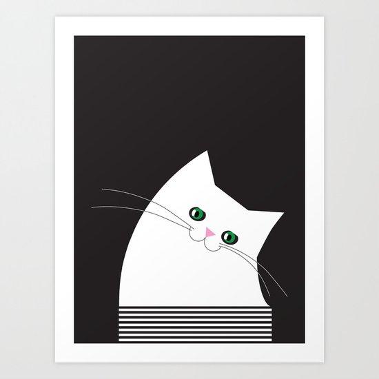 White Cat of Lisa Art Print