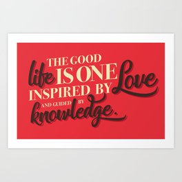 Life, love, knowledge. Red. Art Print