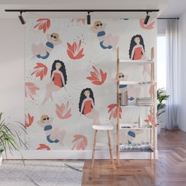 Girls with Tropical Flowers Wall Mural