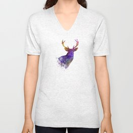 Male Deer 03 in watercolor Unisex V-Neck