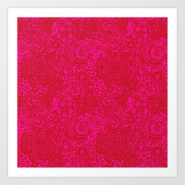 Christmas Brocade Lace with Doves Art Print