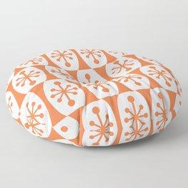 Mid Century Modern Atomic Fusion Pattern Orange Floor Pillow