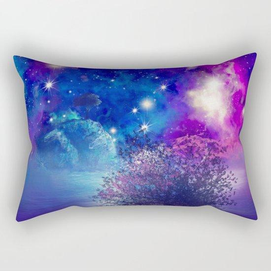purple blue galaxy landscape Rectangular Pillow