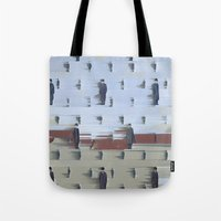 magritte Tote Bags featuring Golconda - Rene Magritte by Max Harrison