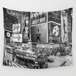 Times Square II (B&W widescreen) Wall Tapestry