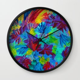 TUTTI FRUTTI - Fruit Punch Floral Bouquet Flowers Bright Bold Colorful Painting Romantic Rainbow Wall Clock