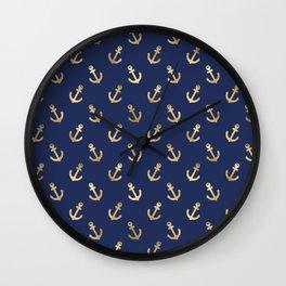 Navy Blue & Gold Anchor Pattern Wall Clock