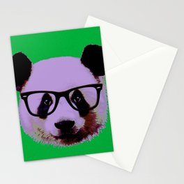 Panda with Nerd Glasses in Green Stationery Cards