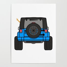 Jeep Wave Back View - Blue Jeep Poster