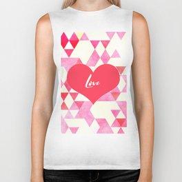 Valentine's Diamond Pattern with Love Heart Biker Tank