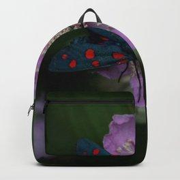 New forest burnet on purple flower Backpack